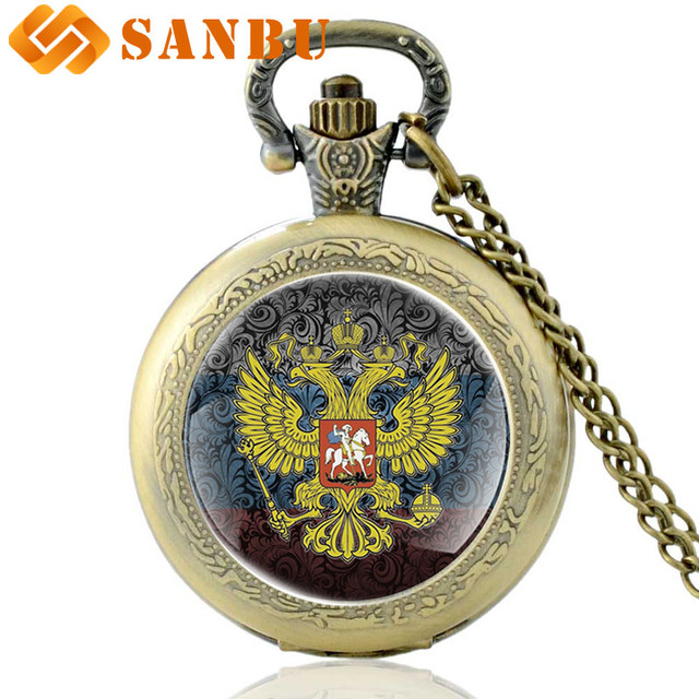 Classic Russian national emblem Art Glass Cabochon Pocket Watch Vintage Men Wome