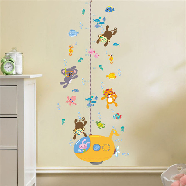 Animals Monkey Tiger Fish Height Measure Wall Sticker For Kids Rooms  Children Growth Chart Home Decor Wall Art PVC Decal ce8485a76458