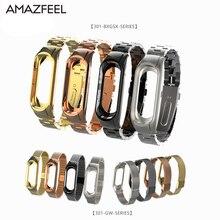AMAZFEEL Mi Band 3 Strap For Xiaomi Mi Band 3 Wristband for Mi band 3 Strap Metal Screwless Miband 3 Bracelet Silver Black Gold