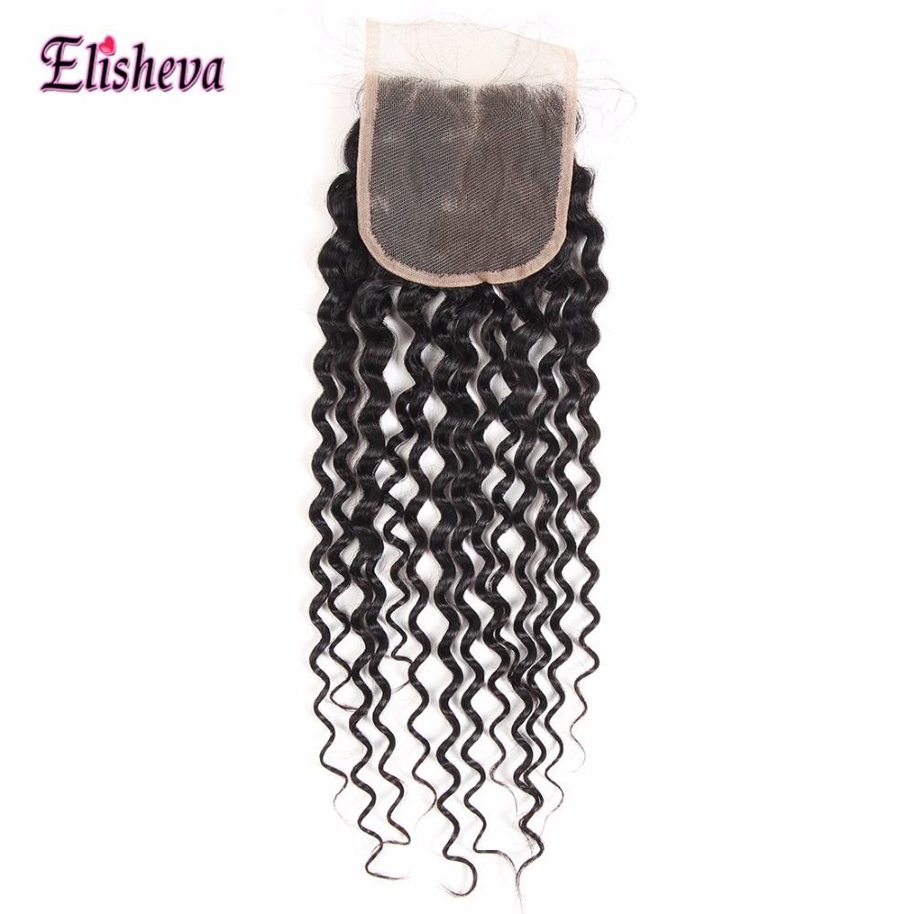 Elisheva Brazilian Hair Bundles with Closure Water Wave 100% Human Hair Weaves 3 bundles with Closure Natural Black Hair NonRemy-in 3/4 Bundles with Closure from Hair Extensions & Wigs    2