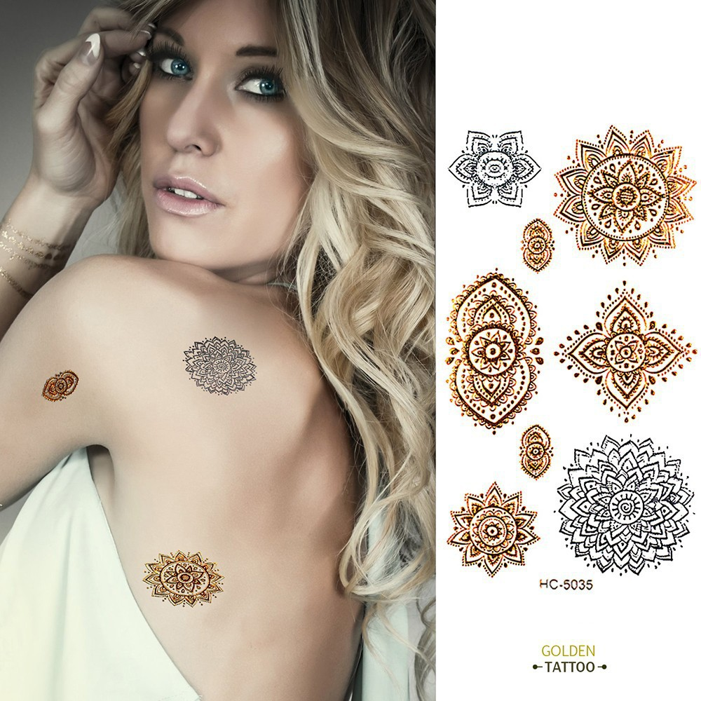 golden tatto body art metallic temporary tattoo jewelry bracelet flash tattoo