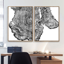 Abstract Tree Ring Wall Art Canvas Painting Nordic Posters And Prints Black White Pictures For Living Room Print Decor