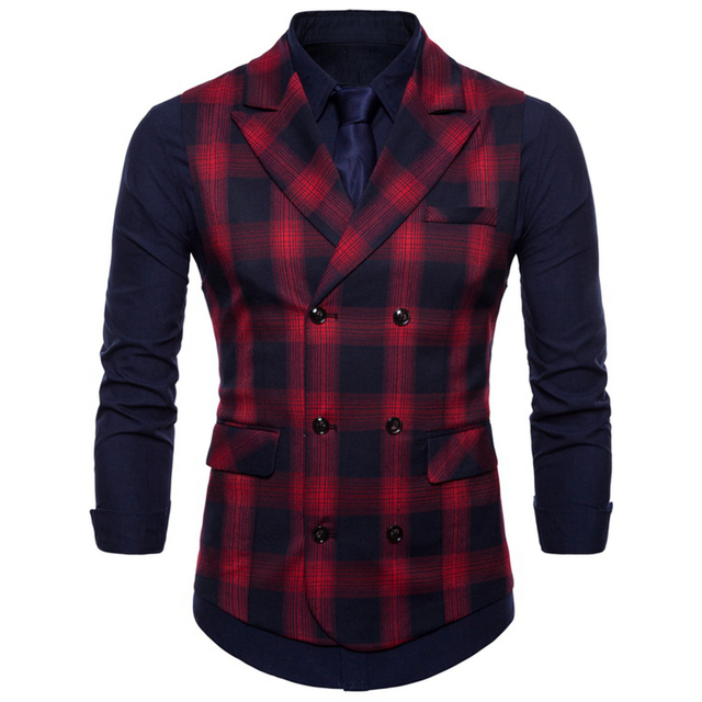 Double Breasted Vest Suit Men 2019 New Arrival High-quality Men's Casual Plaid Waistcoat Double Breasted Vest 10