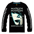 Marilyn Manson Industrial Metal Death Metal Rock  Men's black  New Long sleeve T-shirt