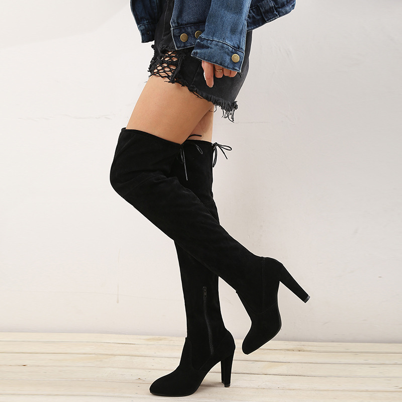 Tacones Mujeres Por gris rojo Zapatos Altos Moda Rodilla Las Negro Mujer Botas Del De La Invierno Cuero Plus Muslo Tamaño Los 43 Encima Gamuza Alta 35 2019 P6xAqwZC
