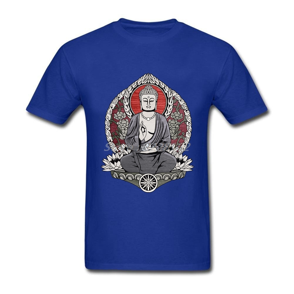 Male Fit Formal Tee Shirts Online Store Vintage Shirt with Gautama Buddha T-Shirt Men Clothing image