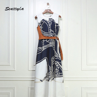 Seamyla 2017 New Autumn Dress Women Sleeveless Printing Patchwork With Sashes Slim Casual Dress Fashion Celebrity