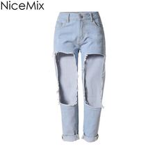 NiceMix Brand 2016 Plus Size Jeans Woman High Wasit Casual Big Hole Denim Pants Sexy Ankle-Length Femme