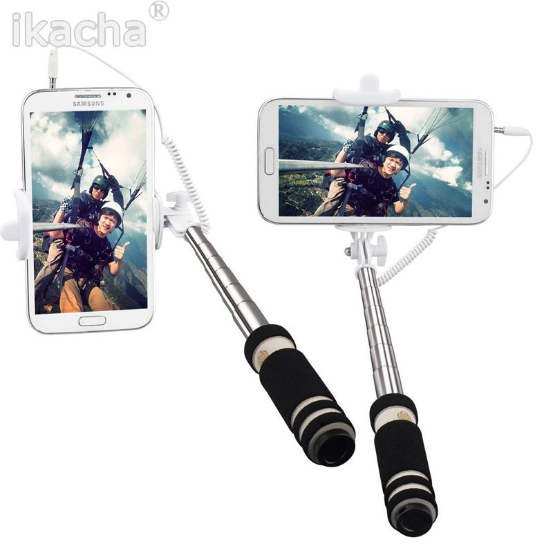 mini professional portable shutter extend wired selfie stick for iphone 4 5 6. Black Bedroom Furniture Sets. Home Design Ideas