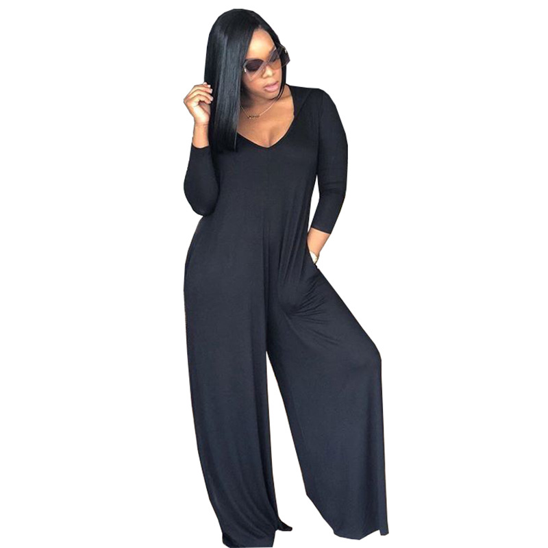 Black Gray Color Vintage Loose Jumpsuit Women V Neck Full Sleeve Party Club Catsuit Sexy Casual Lady Long Romper TS775