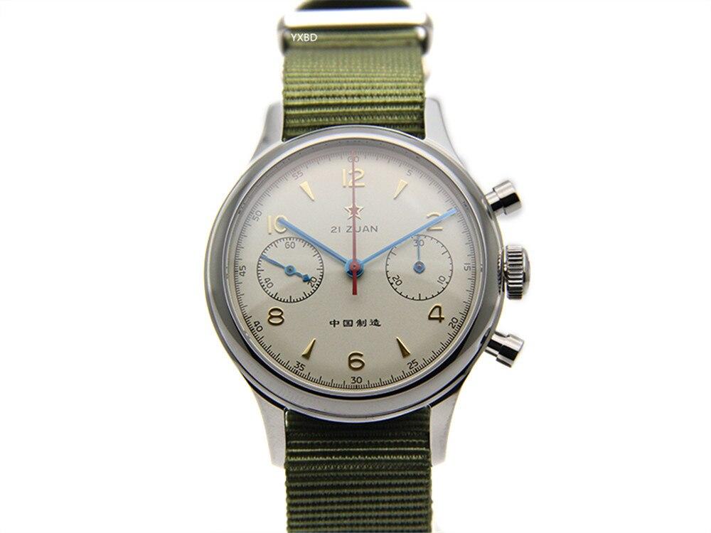 Gaviota movimiento cronógrafo mecánico reloj de pulsera para hombre piloto oficial reedición 304 St19 1963 Flieger Exposición de zafiro