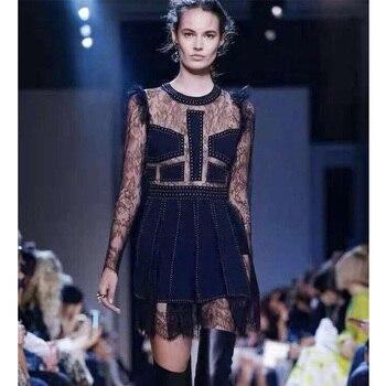 d073a8d22 Cosmicchic de moda de las mujeres pista vestido negro de encaje volantes  manga cordón perspectiva costura vestido de una línea elegante vestido de  fiesta