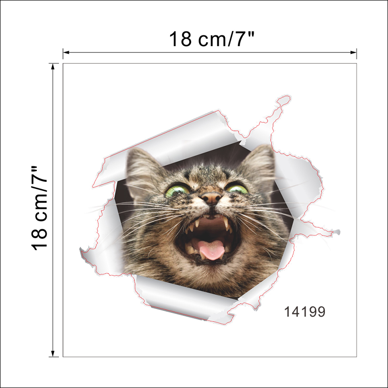 Cats Dog 3D Wall Sticker Bathroom Toilet Living Room Kitchen Decoration Animal Vinyl Art Sticker Poster 22