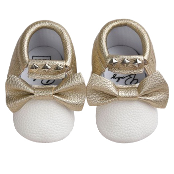 Baby Moccasins Soft Shoes Bebe Fringe Non-slip Footwear Crib Shoes PU Leather Gold & White L