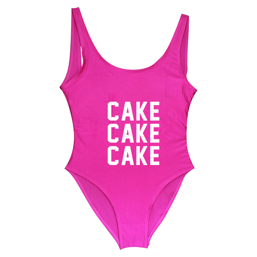 389e59c0dae84 Cake Funny Letter 2018 bathing suit women Swimming Suit Girls  One Piece  Swimsuit Bodysuit swim suit fitness Beachwear Suit-in Body Suits from  Sports ...