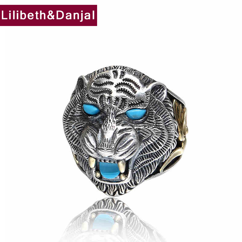 Tiger Ring 100 Real 925 sterling silver Jewelry Animal King Inlaid Stones Adjustable Ring Men Natural