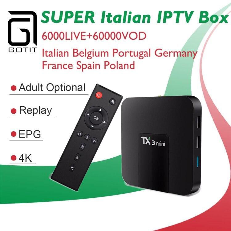 GOTIT Italy TX3 mini Android 7.1 IPTV Box +6000+Live Super IPTV Subscription Germany Albanian Turkey Malta Adult Set top Box twip gotit 53