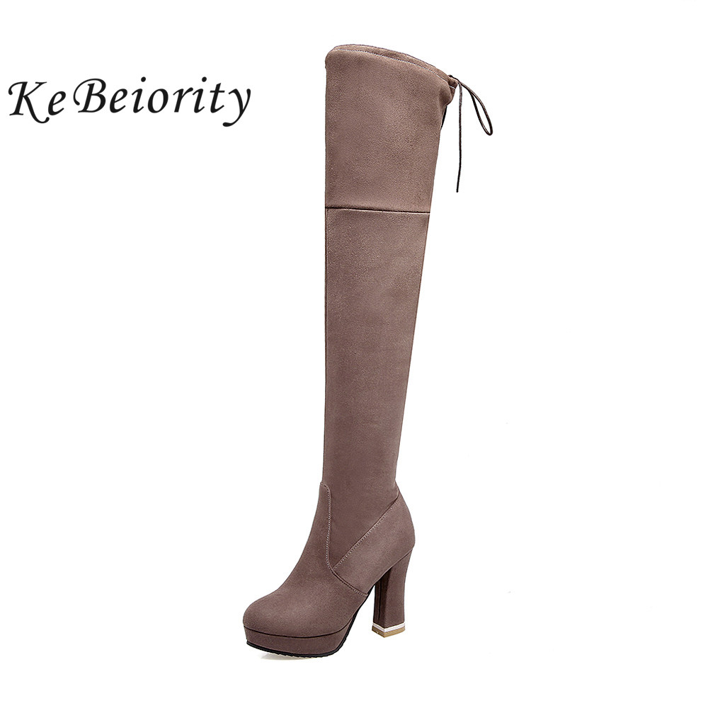 KEBEIORITY Sexy Women Boots 2017 High Heels Platform Over the Knee Boots Fashion Lace Up Thigh High Stiletto Long Boots Female