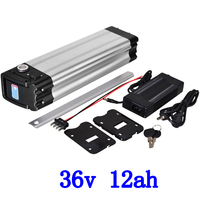 US EU No Tax 36V 12AH Silver fish style Electric Bike battery 36V 500W lithium battery with Aluminum case + 42V 2A charger