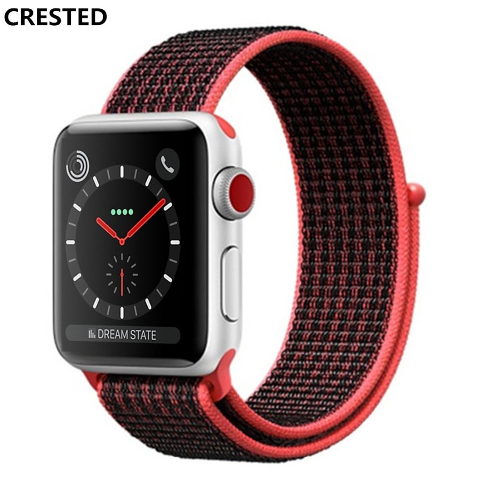 CRESTED sport loop for apple watch band 42mm 38mm iwatch 3 2 1 wrist band Bracelet Breathable Lightweight weave nylon loop strap crested sport nylon band for apple watch 3 42mm 38 mm wove nylon watch strap for iwatch series 3 2 1 wrist bracelet watch band