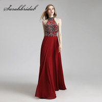Burgundy Long Evening Dresses Real Photos Crystals Beaded Sexy Halter Keyhole Back Floor Length Chiffon Prom Party Gowns CC432
