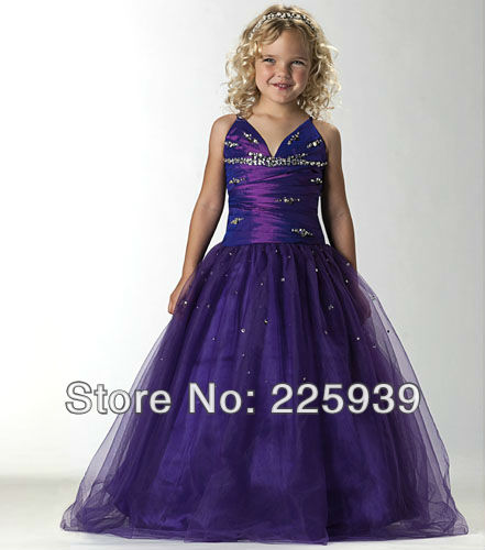 Popular Purple and Silver Flower Girl Dress-Buy Cheap Purple and ...