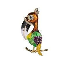 Fashion Bird Brooches Colorful Enamel Rhinestone Crystal For Women Trend Bird Brooch Pins Jewelry Accessory Wedding Bride недорого
