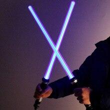 2 шт. звук световой меч Косплей Реквизит Дети двойной Свет сабля забавная звезда игрушечный меч для мальчиков рождественские подарки в темноте Горячая