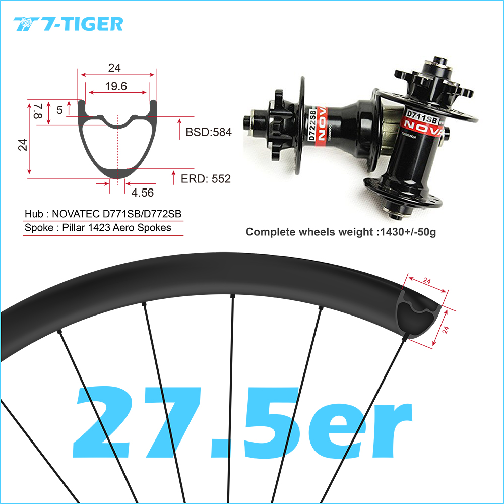 7-TIGER carbon 27.5er mountain bicycle 24x24 mm 650b wheelset mtb wheels for XC version withouter holes, Novatec mtb hubs 2018 anima 27 5 carbon mountain bike with slx aluminium wheels 33 speed hydraulic disc brake 650b mtb bicycle