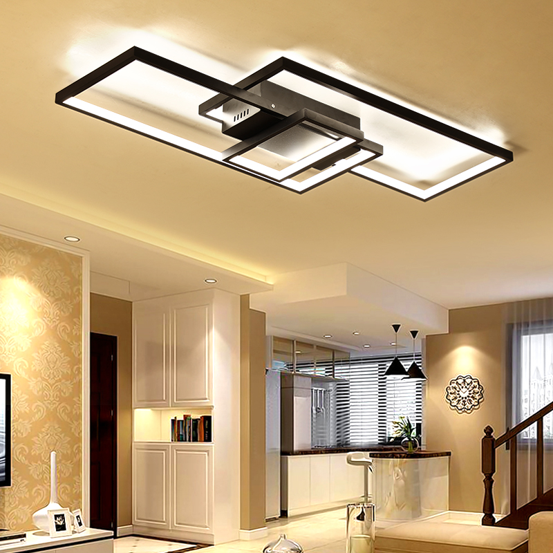 NEO brillo nueva llegada moderno led luces de techo para sala de estar dormitorio comedor luminarias led blanco o negro de techo lámpara - 5