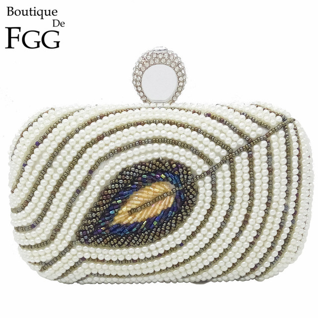 Wedding Dress Peacock Fur Feather Beaded Synthetic Pearl Women White Knuckle Box Clutch Bag Crystal Clutches Shoulder Handbags