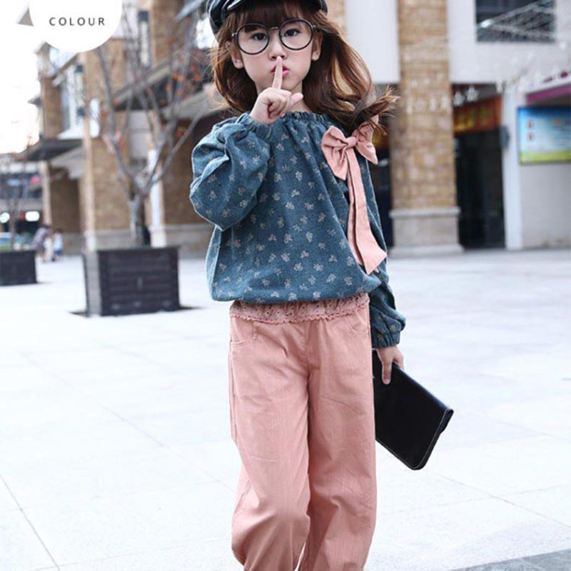 Children girls clothing set 2018 spring floral teenage girls casual suit cotton and linen kids clothes tracksuit girls clothes 2017 new boys clothing set camouflage 3 9t boy sports suits kids clothes suit cotton boys tracksuit teenage costume long sleeve