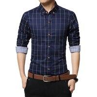 New Spring Fashion Brand Men S Clothes Slim Fit Men Long Sleeve Shirt Men Plaid Cotton