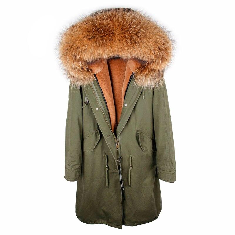 Fux 5 D'hiver Parka 2 X Veste Femmes Laveur 3 Doublé 4 Col Véritable Parkas 6 Fourrure Raton 1 De Manteau longue O50w5qH