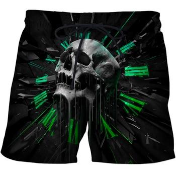 Skull Printed Mens Swim Shorts Summer Escatch Quick-Dry Mens Beach Shorts Swim Trunks Fashion 3d Skull Beach pants Surf shorts