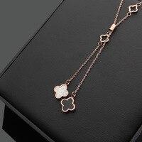 Модные цвета розового золота Черный и белый цвета Clover ожерелье