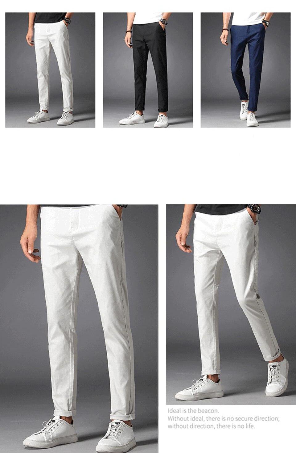 Calças casuais masculinas, calças casuais 98% algodão