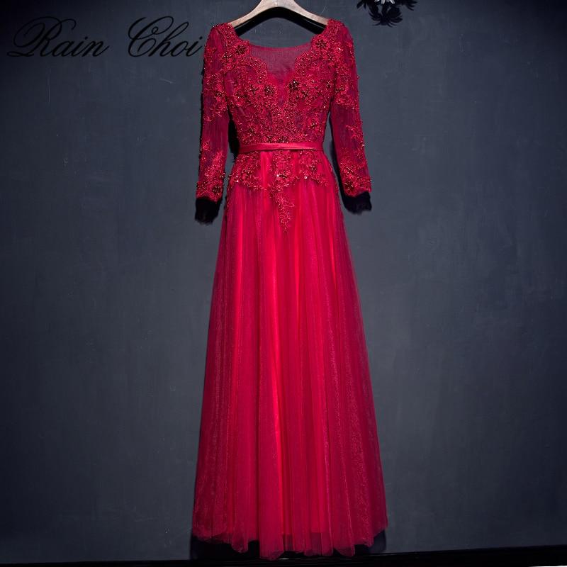 Real Photo   Evening     Dress   Elegant Long Sleeve Tulle Lace Beaded Long   Evening     Dresses   2019 Robe De Soiree Manche Longue
