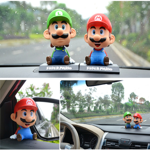 Image 2 - Funny Super Mario Bros Car Dolls Head Shaking Toy Model Lovely Car Ornaments Auto Interior Decoration Accessories Kids Gift 2019