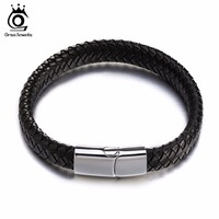 Charm Real Leather Braided Rope Bracelets With Stainless Steel Clasp 2016 Fashion Women Men Jewelry GTB48