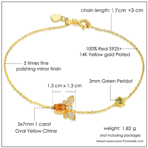 Honey Bee Citrine Sterling Silver Gold-color Chain Charm Bracelet