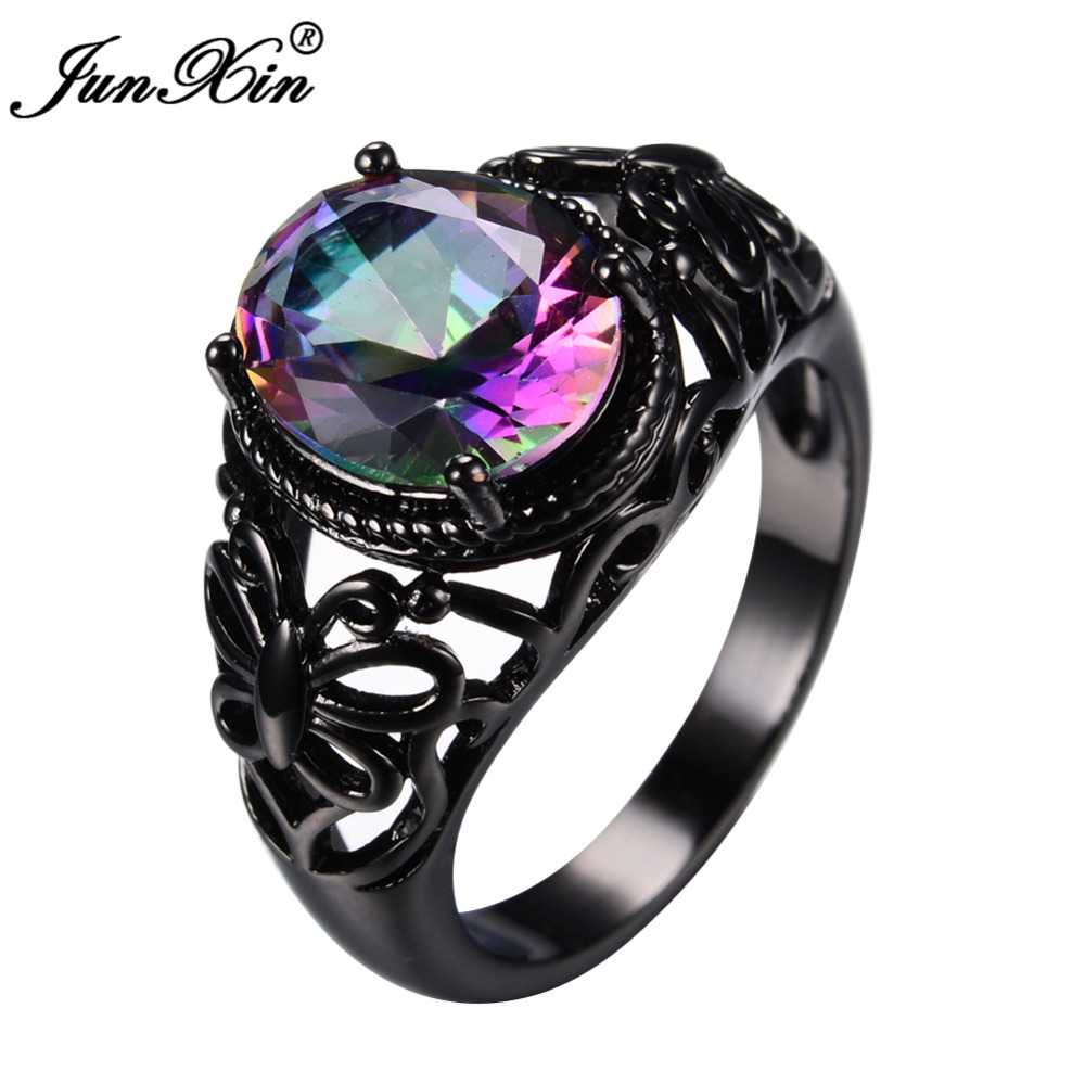 Junxin Fashion Jewelry Bright Zircon Stone Ring Black Gold Filled Wedding  Party Engagement Rings For Women