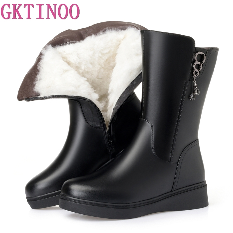 GKTINOO New Winter Mid-calf Women Boots Flats Heels Warm Wool Leather Snow Boots High Quality Knee High Boots Large Size 35-43 fashion hot winter hand embroidery flowers women snow mid calf boots sheep wool high qualit flats street style beauty boots 26