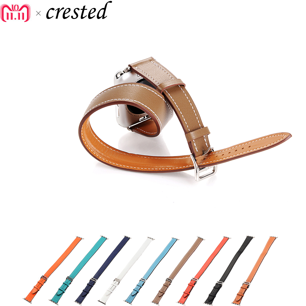 Luxury Double tour bracelet strap for apple watch band 42mm/38mm iWatch 3/2/1 Genuine leather watchband wrist belt+metal buckle leather double buckle cuff band for apple watch 38mm 42mm strap bracelet