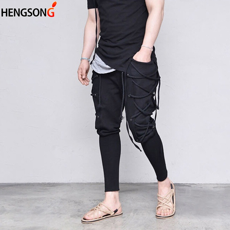 HENGSONG Solid Color Simple Pocket Waist Straps Feet Pants Casual Men's Ankle-length Pant Fashion Personality Males Trousers