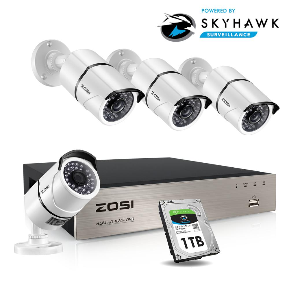 ZOSI HD 8CH CCTV System Set FULL 1080P DVR 4PCS 2.0MP 1920TVL IR Outdoor Security Camera System 8 Channel Video Surveillance Kit
