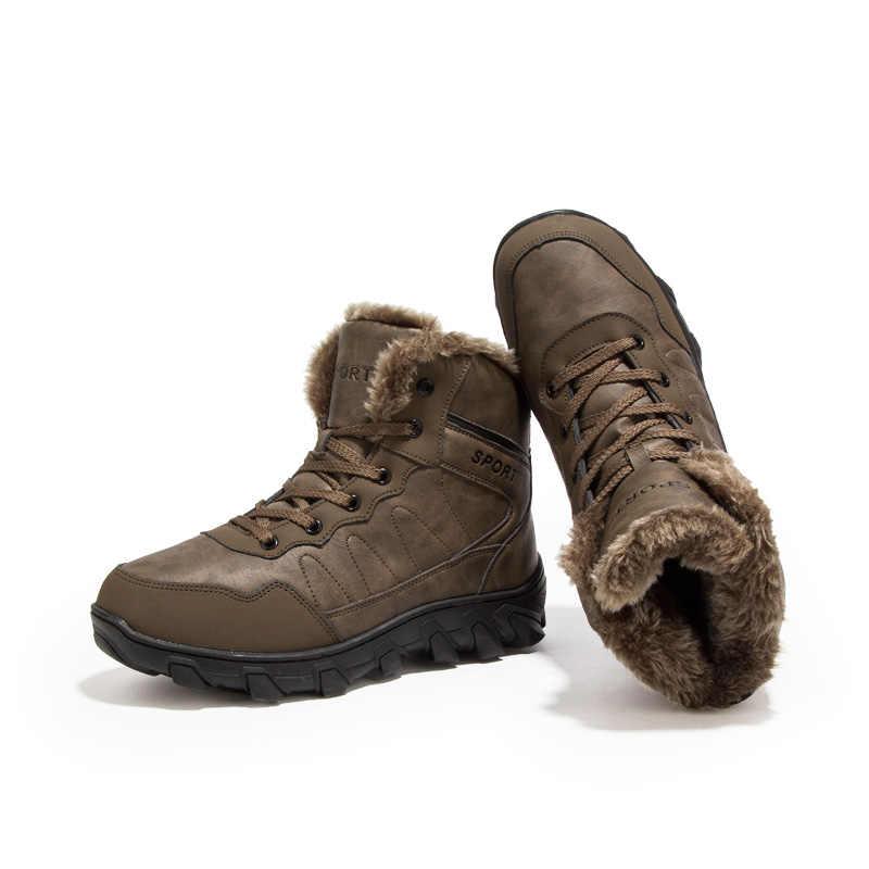 VKERGB Winter Laarzen Mannelijke Sneeuw Enkellaars Bont Warme Mannelijke Laarzen Mannen Casual Schoenen Suède Platte Mannen Volwassen Enkel laarzen Zwart