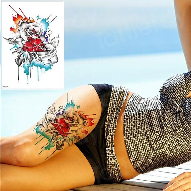 waterproof tattoo stickers bikini peony tattoo & body art flower rose tattoo fake water transfer tattoo temporary tatoo leg arm 1
