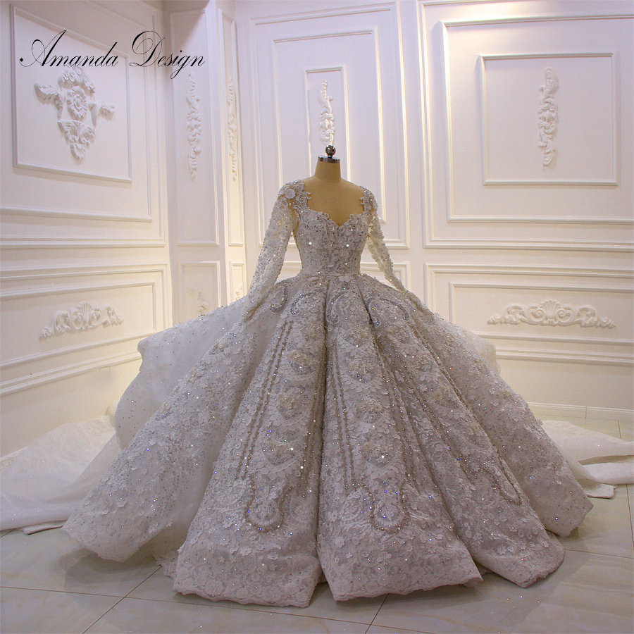 Amanda Design robe de mariee courte Long Sleeve Crystal 3D Flowers Royal Luxury Wedding Dress