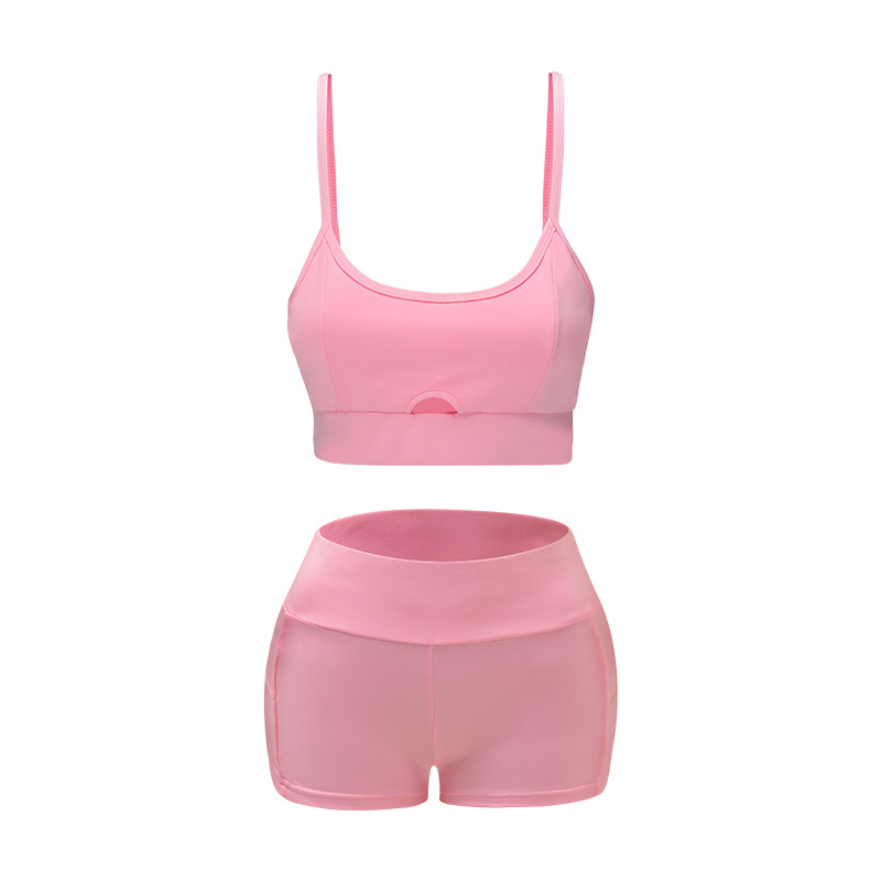 Sports Suit Women Running Gym Fitness Clothing Green And Pink Yoga Bra + Short Leggings Yoga Set Workout Clothes for Women (5)